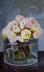 still life bunch of white roses in glass vase on dark background