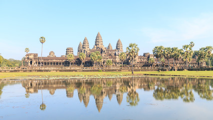 The Angkor Wat Temple reflected in lake, Siem reap, Cambodia.