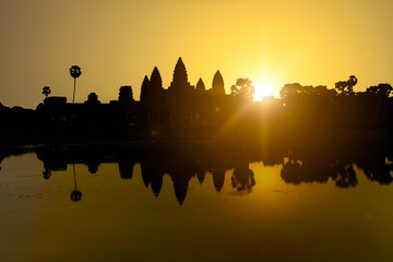 Silhouette of Angkor Wat in sunrise, the best time in the morning at Siem Reap, Cambodia