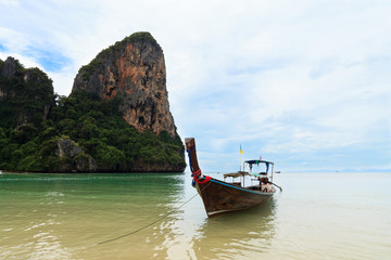 Traditional thai boats at the Railay beach of Krabi,  Thailand