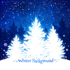 Christmas trees blue and white background.