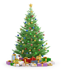 Christmas tree with gifts isolated 3d render
