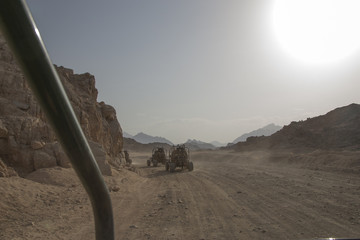 extreme journey through the desert in buggy