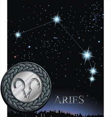 Illustration of Aries zodiac sign. Ram zodiac poster.