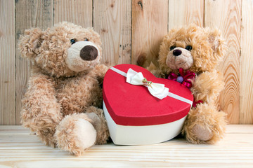Couple toy bears with love valentine concept
