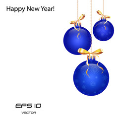 blue Christmas balls,  Isolated on white background
