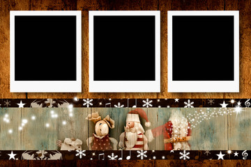 Christmas  three empty photo frames