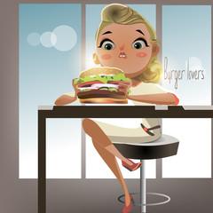 Girl eating burger - vector illustration