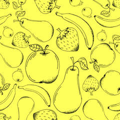 Hand Drawn Doodle Outline Stroke Fruits Seamless Pattern