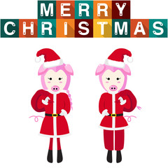 Pig Santa Claus Girl Boy Vector Illustration
