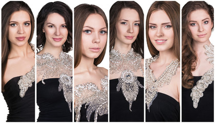 Collage of beautiful young women.