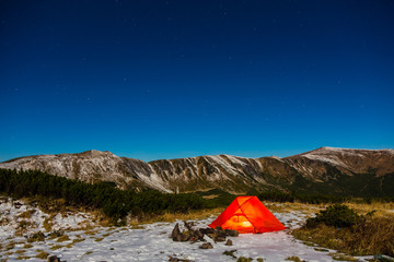 Winter Hiking Bivouac in Mountain Landscape at Night