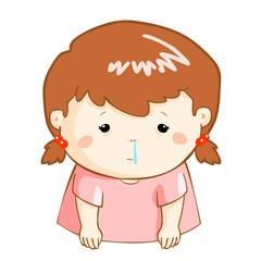 ill girl runny nose cartoon vector