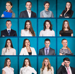 Business people portrait collage