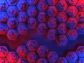 Hexagons abstract surface illuminated with red and blue lights - horizontal background