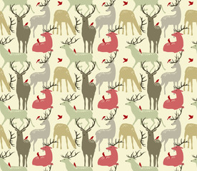 vector seamless pattern with  deers and birds
