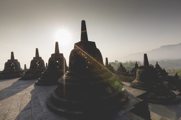 Buddist temple Borobudur on sunset background. Yogyakarta. Java,