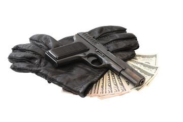 Pistol On Gloves And Money