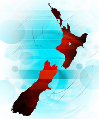 New Zealand map in abstract style