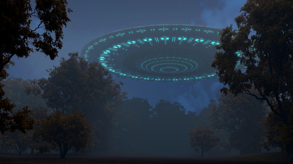 Ufo in night forest
