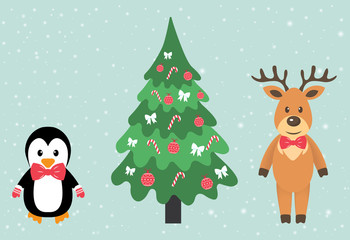 winter deer and penguin and fir-tree