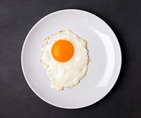 Fried egg in a white plate on the black background