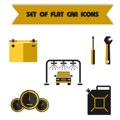 Set car color vector flat icon