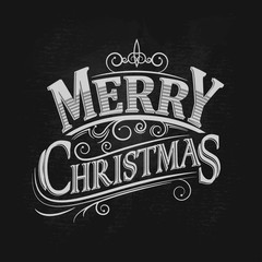 Christmas vintage chalk text label on a blackboard. Vector illustration