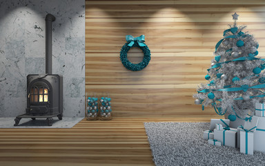 Christmas with wooden wall near fireplace