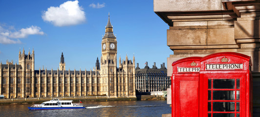Fototapete - London symbols with BIG BEN and red PHONE BOOTHS in England, UK