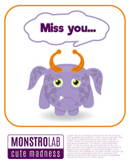 Illustration of a monster saying miss you