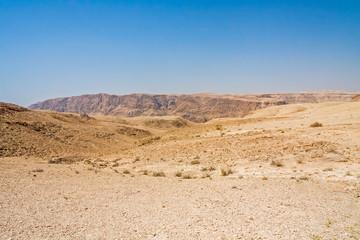 View on mountain landscape in Judean desert. Metzoke Dragot, Israel.