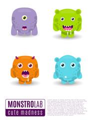 Monsters vector set. Cute cartoon monsters.