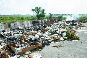 fired dirty refuse wihe roadside