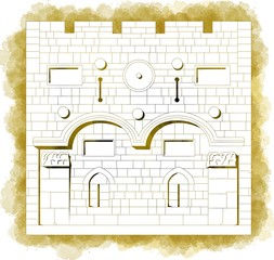 Porta d'oro, ingresso, Città vecchia, Gerusalemme, Israele, disegnata a mano