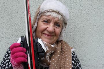 Senior with skis