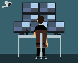 Workplace security guard. The security guard watching a video from surveillance cameras. Vector illustration