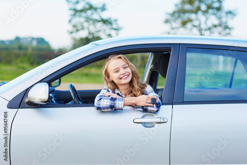 quotwoman looking out of the car windowquot stock photo and