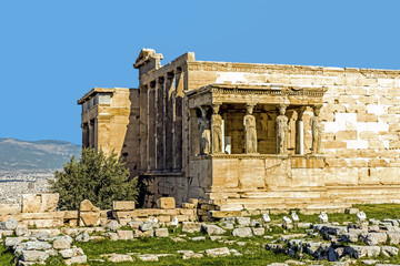 The Old Temple of Athena, an archaic temple located on the Acropolis of Athens, built around 525-500 BC. Taken in Athens, Greece.