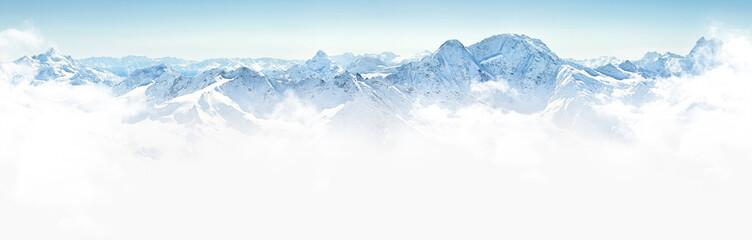 Foto auf Gartenposter Gebirge Panorama of winter mountains in Caucasus region,Elbrus mountain,