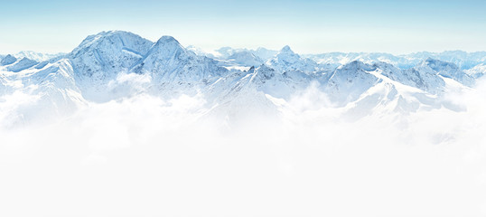 Wall Mural - Panorama of winter mountains in Caucasus region,Elbrus mountain,
