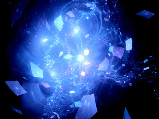 Blue glowing flying squares in deep space