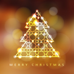 Modern christmas greeting card with illuminated ornamental christmas tree, vector