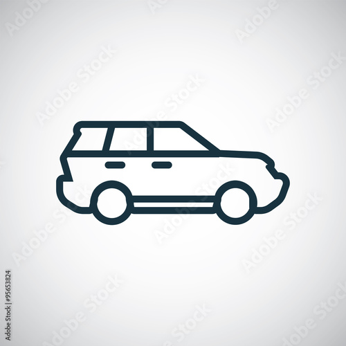 Suv Outline Thin Flat Digital Icon Stock Image And Royalty
