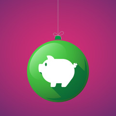 Long shadow vector christmas ball icon with a pig