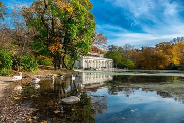 Beautiful autumn landscape in the Prospect Park Boathouse, Brooklyn, USA
