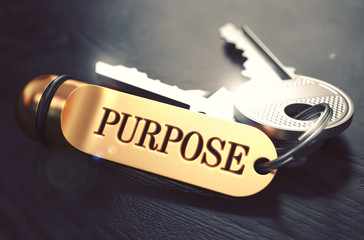 Purpose - Bunch of Keys with Text on Golden Keychain. Wall mural