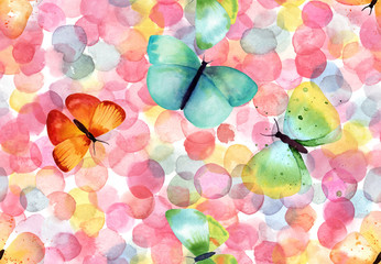 Bright abstract seamless pattern with multicolored watercolor dots and butterflies
