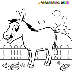 Vector Illustration of a black and white outline image of a cartoon donkey at the farm.