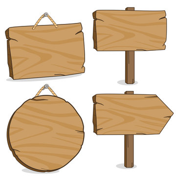 Vector illustration set of wooden hanging signs and signposts.